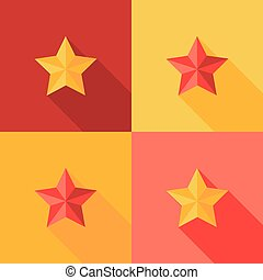 Christmas Yellow and Red Star Flat Set Icon