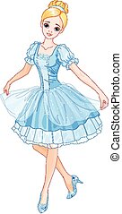 Cinderella - Illustration of Cinderella wearing crystal...