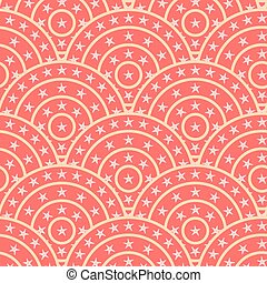 Circle With Star Shape Vector Seamless Pattern. You can find ful