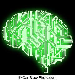 Illustration of circuit board in human brain form -...