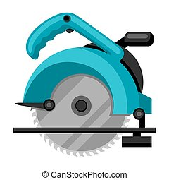 Illustration of circular saw on white background isolated.
