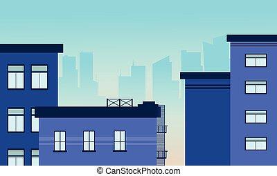 Illustration of city building skyline