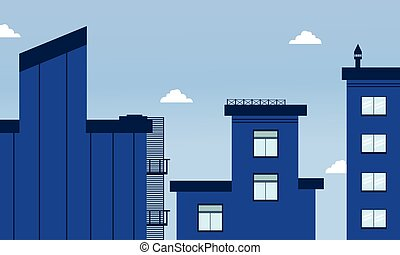 Illustration of city buildings flat style
