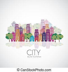 city buildings silhouettes - Illustration of city buildings...