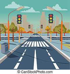 city crossroad with traffic lights