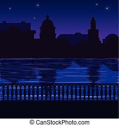 Illustration of city skyline at night: quay