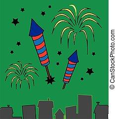 illustration of city skyline with fireworks