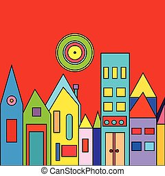 illustration of city  with houses.