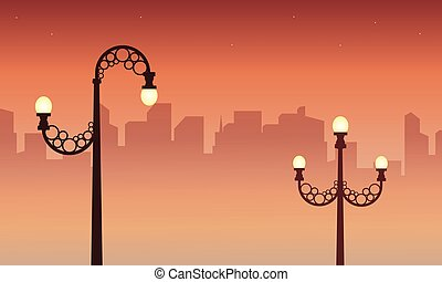 Illustration of city with street lamp landscape