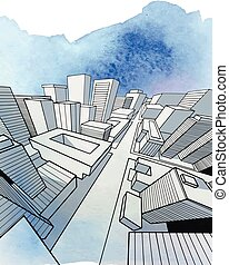 Vector illustration of hand drawn schematic cityscape