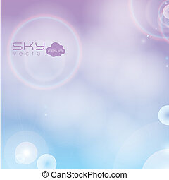 Illustration of clear sky, with clouds and sun, vector illustration