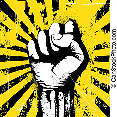 illustration of clenched fist held high in protest on the yellow grunge urban background