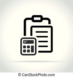 clipboard with calculator on white background