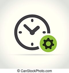 clock and gear icon on white background