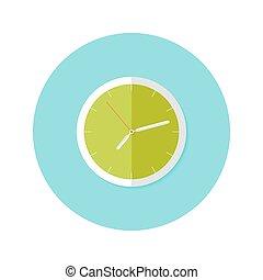 Clock Flat Circle Icon over Blue