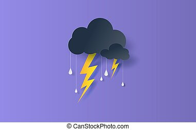Illustration of Cloud and rain season on sky dark background. Overcast sky and thunderbolt lightning. Creative design paper art and craft concept. Origami rainy weather forecast water drop. vector
