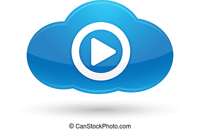 Illustration of Cloud Computing Media icon for your design and products