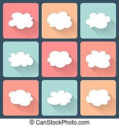Cloud flat icon set