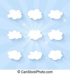 Cloud icon set on a blue