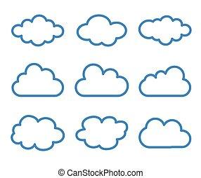 cloud icons set on white background