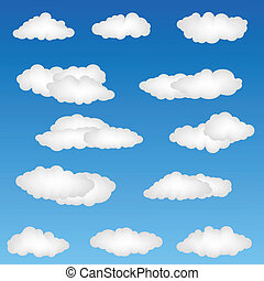 cloud shapes - illustration of cloud shapes on abstract ...