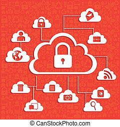 network security - illustration of cloud technology locked, ...