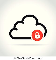 cloud with padlock icon on white background