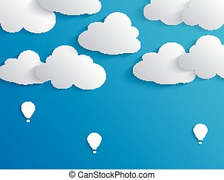 Clouds and air balloon in blue sky