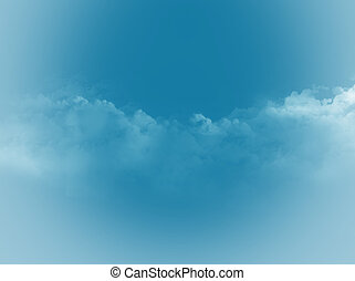illustration of clouds on a blue sky background.