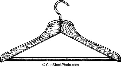 illustration of coat hanger - Vector black-and-white hand...