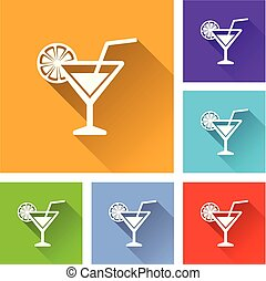 cocktail icons with long shadow