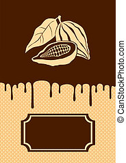 Illustration of cocoa and chocolate dripping on the wafer