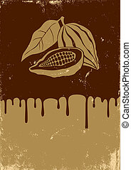 Illustration of cocoa and chocolate - Retro illustration of...