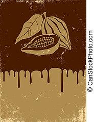 Illustration of cocoa and chocolate - Retro illustration of...