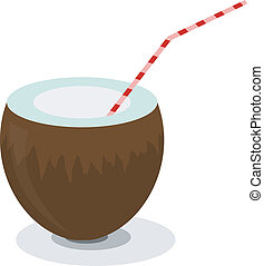 Illustration of coconut and a straw for cocktails