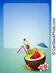 Coconut drink with fruits