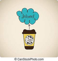 illustration of coffee with cloud technology
