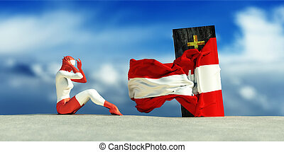 illustration of coffin with flag and woman crying - 3d...