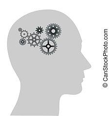 cogs or gears in human head