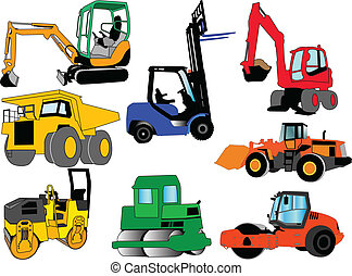illustration of collection of construction machines - vector