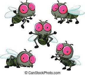 collection of cute little cartoon flies