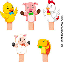 collection of fierce animal hand puppets - illustration of...