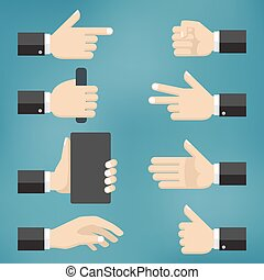 Illustration of collection of hand gestures