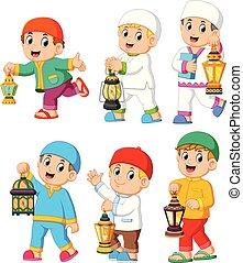 collection of moslem kids holding lantern