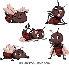 collection of mosquito cartoon - illustration of collection...