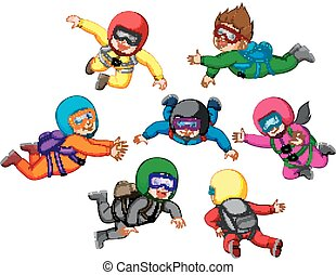 Collection of Skydiving with different position