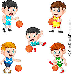 collection of the basketball children player with the different posing