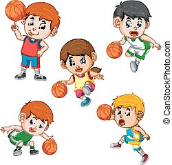 collection of the basketball profesional children player with the different posing