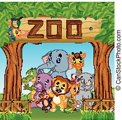 collection of zoo animals with guide - illustration of ...