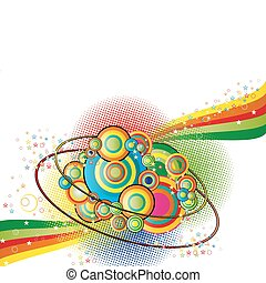 Color abstract background with circles nad stars -...